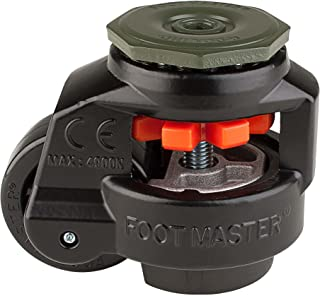 """FOOTMASTER GD-80S-BLK-1/2 Nylon Wheel and NBR Pad Leveling Caster, 1100 lbs, Stem Mounted with 0.5"""" Mounting Hole Diameter, Black Finish"""