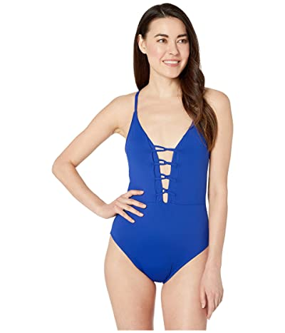 La Blanca Island Goddess Plunge Mio One-Piece Swimsuit (Blueberry) Women