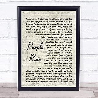 123 BiiUYOO Purple Rain Prince Song Lyric Vintage Script Quote Print 12