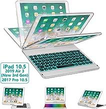 iPad Pro 10.5 Keyboard Case 2017/ iPad Air 3 Case with Keyboard 10.5 2019-360 Rotate 7 Color Backlit Wireless Keyboard with Smart Folio Hard Back Cover, Ultra Slim, Auto Sleep/Wake, Silver