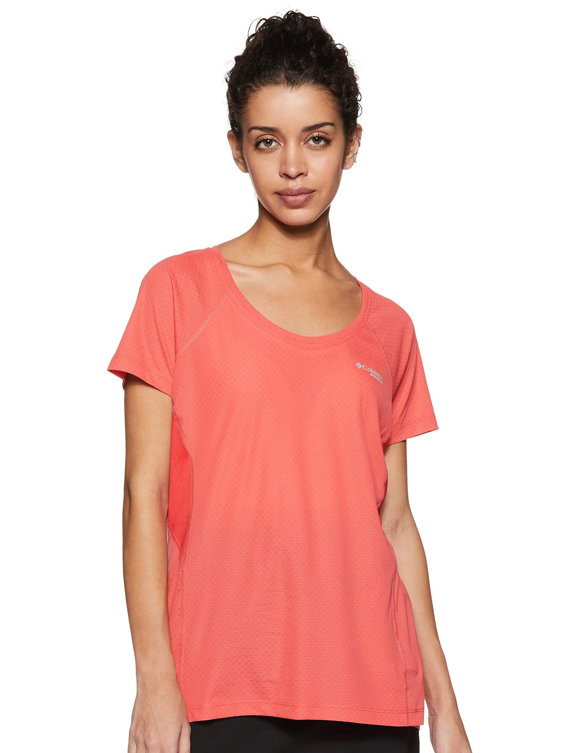 Columbia Damen T-Shirt Titan Ultra II Short Sleeve, Red Coral/Cherrybomb, M, 184