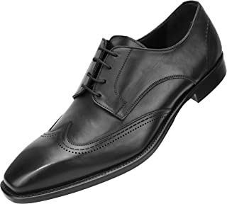 Asher Green Genuine Italian Leather Mens Dress Shoes with Classic Wing Tip and Burnishing Style AG4721