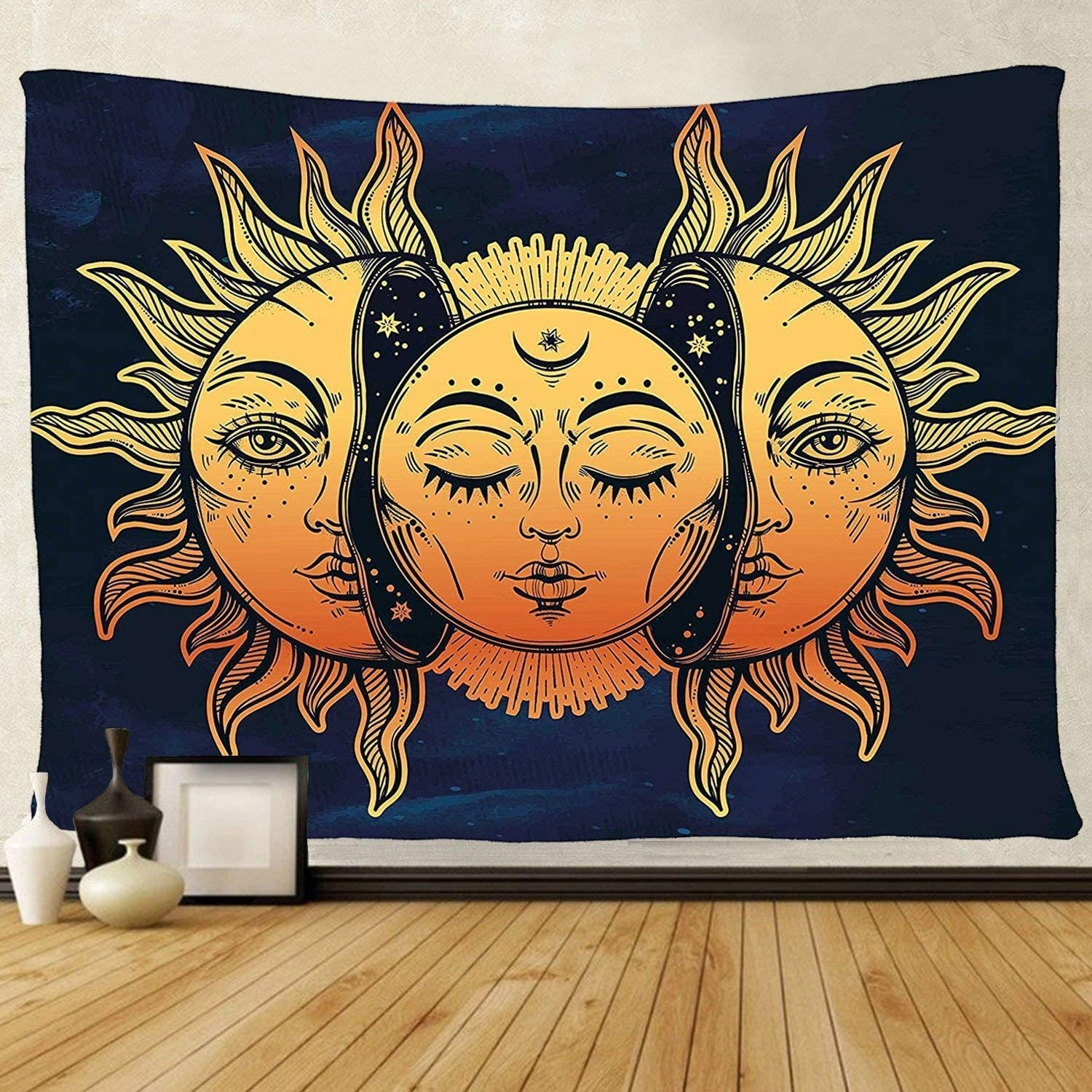 TENALY Tapestry Wall Direct stock discount Wholesale Hanging Sun Small Wal and Moon Psychedelic
