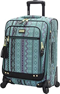 Designer 20 Inch Luggage Collection - Lightweight Softside Expandable Suitcase for Men & Women - Durable Carry On Bag with 4-Rolling Spinner Wheels (Legends Turquoise)