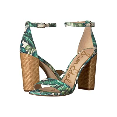 Sam Edelman Yaro Ankle Strap Sandal Heel (Jade Multi Wallpaper Palm Print) Women