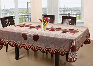 Kuber Industries Floral Cotton 6 Seater Dining Table Cover - Red