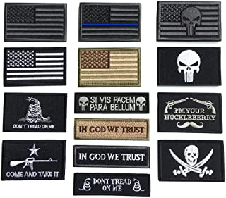 Bundle 16 Pieces American Flag Tactical Military Patch Set Embroidered Applique Hook and Loop Patch for Caps,Bags,Backpack...