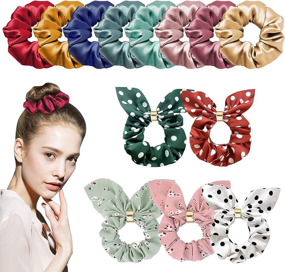 Ealicere 13 Stück Haargummis, Kaninchen Ohr Haargummis, Haarschmuck Bunte Scrunchies Haar Gummibänder Haarbänder Accessoires für Damen, Mädchen Kinder
