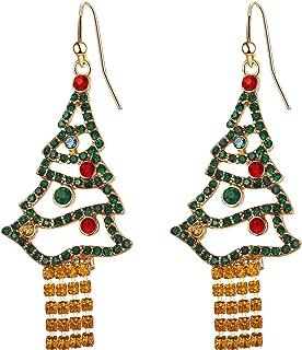 Flyonce Crystal Colorful Christmas Tree Earrings for Women Tassel Hook Dangle Drop for Xmas