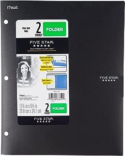 Five Star 2 - Pocket Folder, Stay-Put Tabs, Plastic,(38060) (Black)