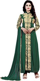 Ethnic Empire Women's Georgette Semi Stitched Salwar Suit(Ethnic_ER110123_ Green_Free Size)