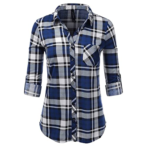 265a76b9f665eb JJ Perfection Womens Long Sleeve Collared Button Down Plaid Flannel Shirt