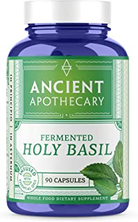 Ancient Apothecary Fermented Holy Basil Supplement, 90 Capsules — Infused with Organic Essential Oils, Ashwagandha Extract and Digestive Bitters …