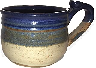 Hand Made Ceramic Stoneware Pottery Soup Crock Bowl with Handle - Hand Painted and Hand Glazed - Blue and Beige, Hand Crafted – Hand Spun - 14 oz - Bowl, by Integrity