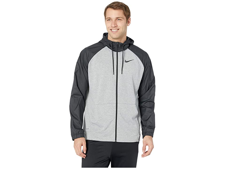Nike Dry Hoodie Long Sleeve Full Zip Utility Core (Dark Grey Heather/Black) Men