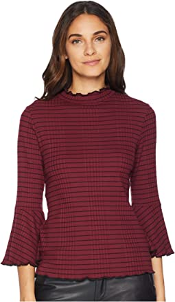 Rachel Stripe 3/4 Sleeve Mock Neck Top