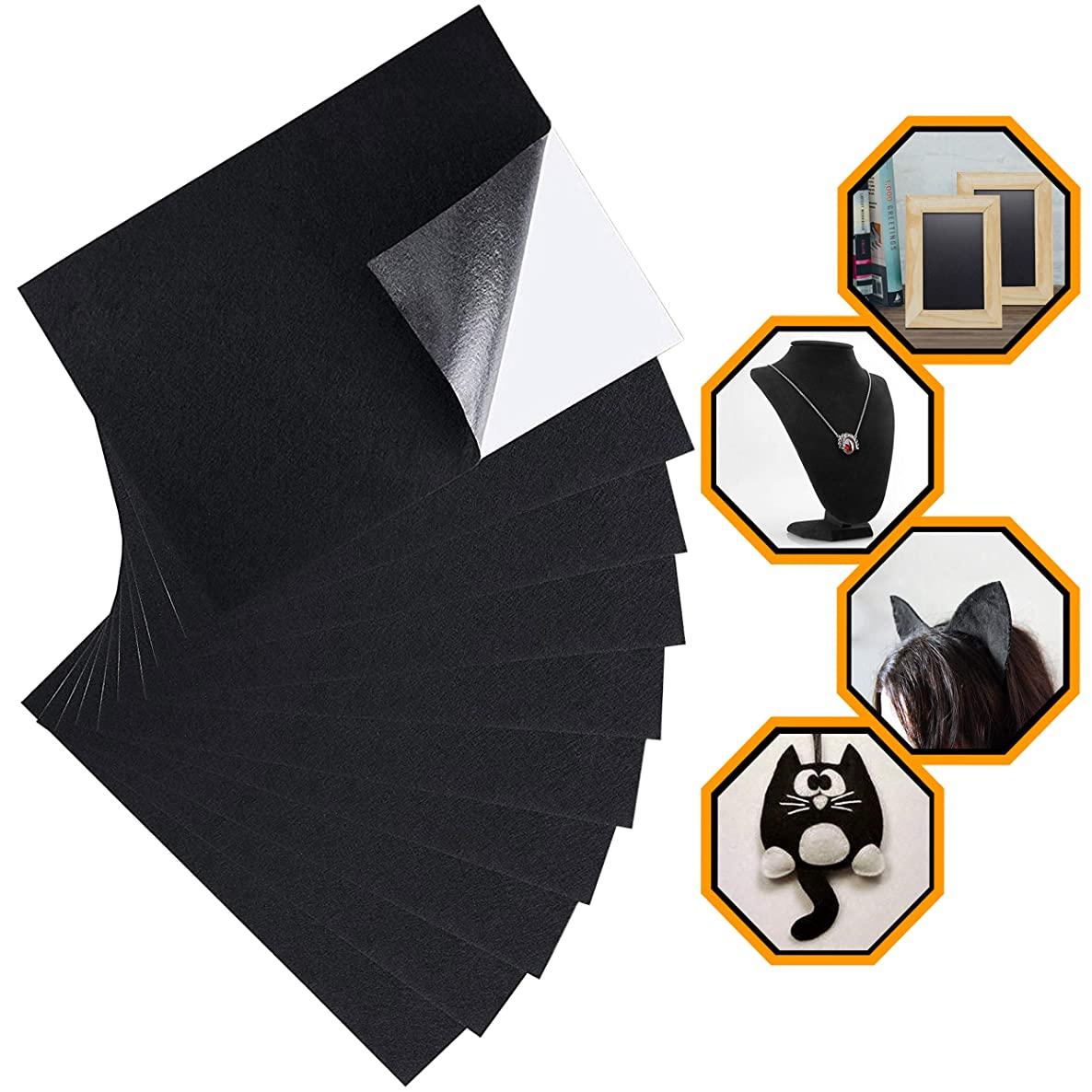 ELV Black Felt Fabric Adhesive Sheets (10 Count) Multipurpose Velvet Sheet with Sticky Glue Back for Art & Crafts, Jewelry Box Liner, Furniture Protector Pads Water Resistant (A4 Size) (Black)