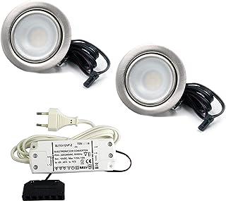 Set de 2spots LED plates-Encastrable - Pour meuble-2,7W, 12V/CC- Blanc chaud 3000K/200lm-En acier inoxyda...