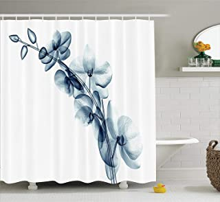 Ambesonne Xray Flower Decor Collection, Contemporary X-ray Illustration of Orchide Flower Unseen Nature Artistic Picture, Polyester Fabric Bathroom Shower Curtain, 75 Inches Long, Teal White