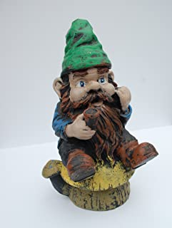 Gnomeo Sitting on a Mushroom Statue Handmade in USA Made of cast Stone Concrete Great for Indoor Our Outdoor 5 finishes Painted Stained or unpainted