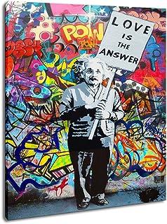 "Framed Art Einstein ""Love is Answer"" Canvas Print Painting Colorful Figure Street Graffiti Wall Art Pics Living Room Decor..."
