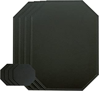 Nikalaz Black Octagon Set of Placemats and Glass coasters, 4 table mats and 4 coasters, place mats 15.75'' x 11.81'' and coasters 3.94'' x 3.94'', Recycled leather (Black Glossy)
