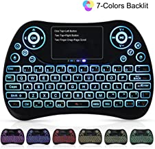 Mini Wireless Keyboard, SUPVIN 2.4GHz Mini Keyboard with Touchpad Mouse Comb, RGB Backlit/Rechargable/Portable USB Remote Keyboard for Android TV Box, PC, Smart TV, Raspberry Pi 3, HTPC, PS4