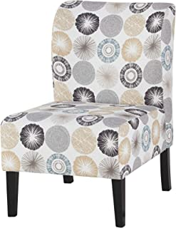 Ashley Furniture Signature Design - Triptis Accent Chair - Contemporary - Gray/Tan Geometric Design - Dark Brown Legs