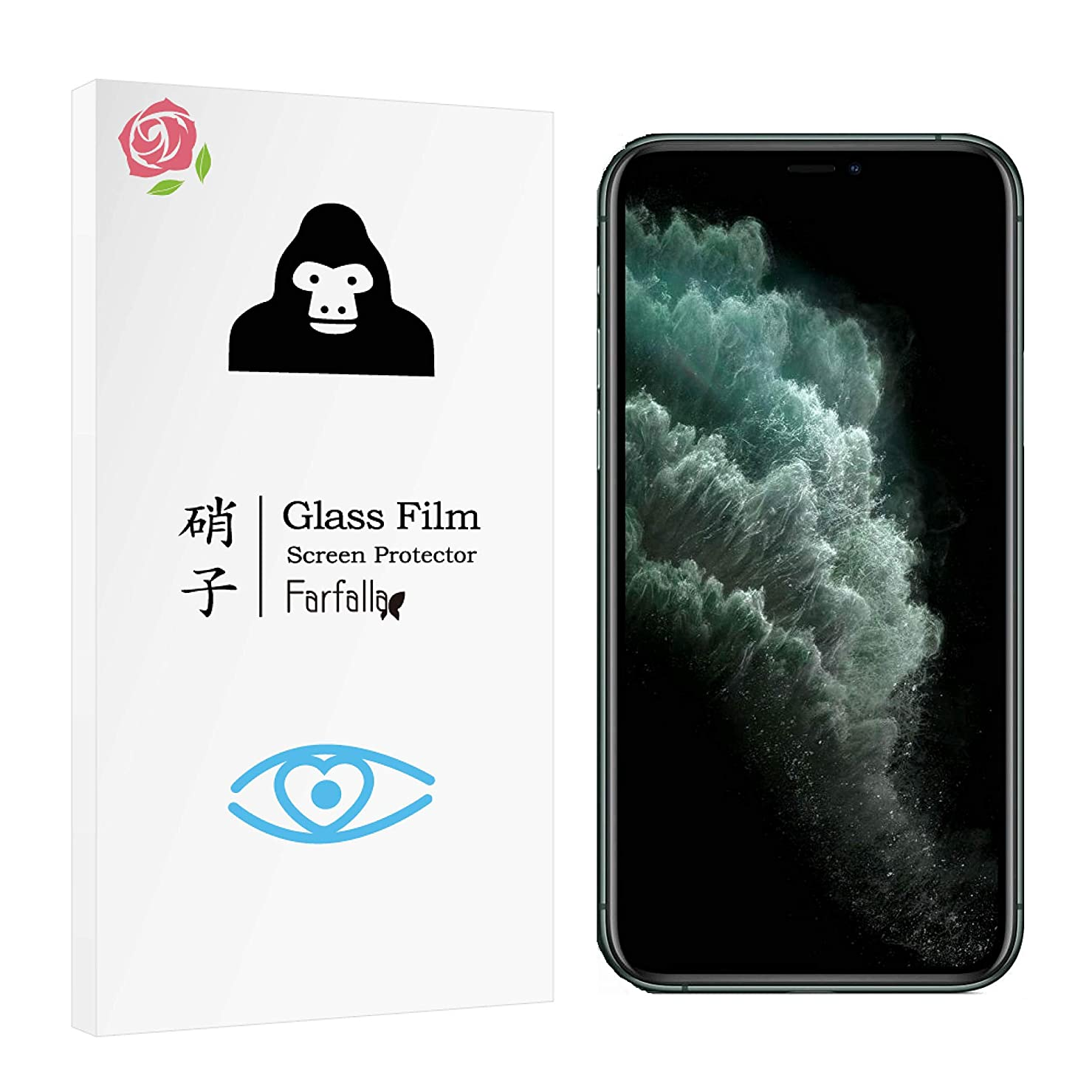 知恵アカデミックトレイ【ブルーライトカット】iPhone 11 Pro/iPhone XS/iPhone X ガラスフィルム CORNING GORILLA GLASS 5使用 オイルコーティング Farfalla (0.3mm)