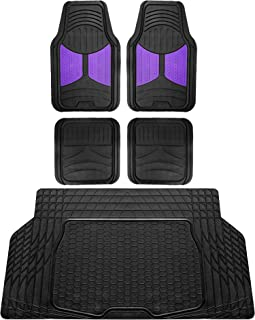 FH Group F11313 Monster Eye Full Set Rubber Floor Mats, Purple/Black Color w. F16403 Trimmable Vinyl Trunk Liner/Cargo Mat Black- Fit Most Car, Truck, SUV, or Van