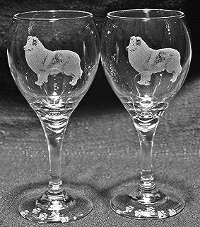 Muddy Creek Reflection Shetland Sheepdog Laser Etched Wine Glass Set (2, TDW)