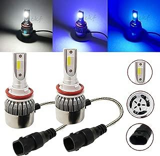 CK Formula (3 Color in 1 Bulb) H11 6000K Ultra White 8000K 10000K Blue Xenon COB LED (Low Beam Headlight) 7600 LM 72W US