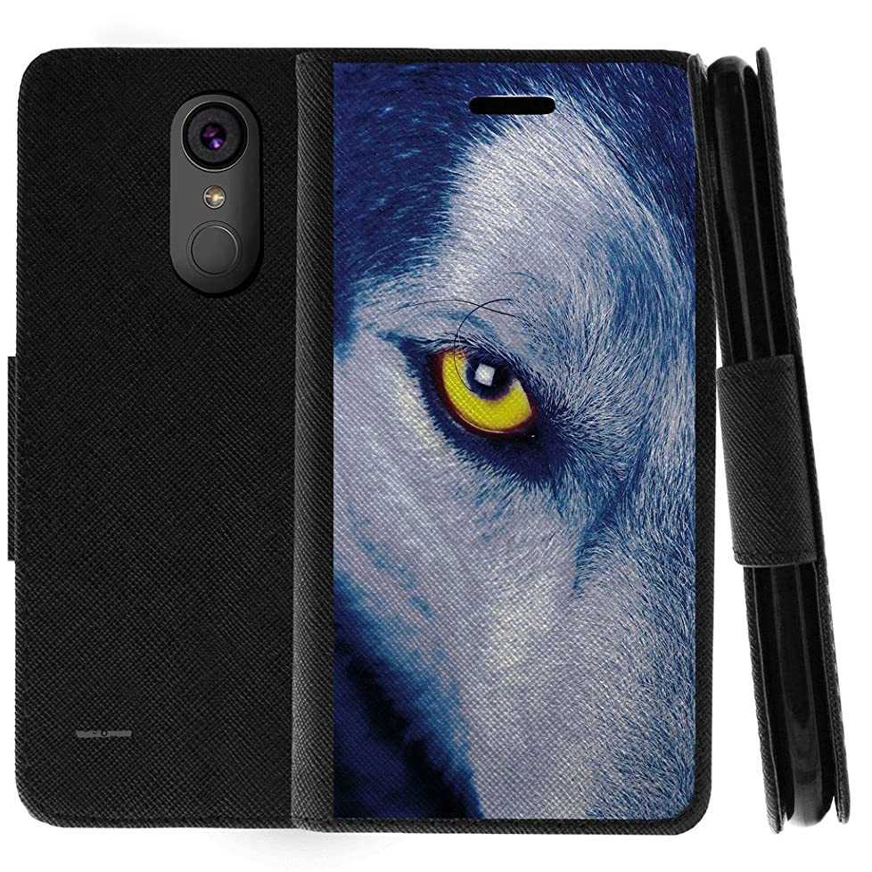 TurtleArmor | Compatible for LG Stylo 3 Case | LG Stylus 3 Case | Stylo 3 Plus Case | Flip Book Leather Wallet Case Stand Cover with Card Slots Animal Design - Wolf Eye bahopd014306936