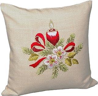 Tischdeckenshop24 Stickpackung Frohe Weihnachten rot Kerzen, vorgezeichnetes Kissen Set zum Sticken, Kissenbezug Stickset mit Stickvorlage zum Selbersticken zu Weihnachten