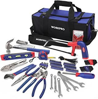 WORKPRO Tools Kit for Home Repair 156PC with Tool Bag, DIY Hand Tool Set - Including Pliers Set, Hex Key Set, Wrench Spann...