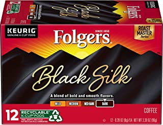 Folgers Black Silk Coffee, Dark Roast, K-Cup Pods for Keurig K-Cup Brewers