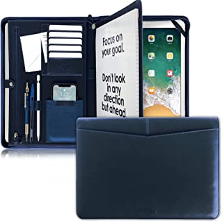 AWES Premium Navy Blue Zippered Portfolio, Professional Leather Padtfolio, 12.9 Ipad Pro Holder, Letter Notepad Case, for Men/Women, Business Gift Folder, Travel Organizer, Resume/Card Holder