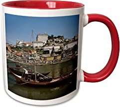 3dRose 189329_5 Portugal Porto Boat With Wine Barrels On The Douro River Two Tone Mug, 11 oz, Red