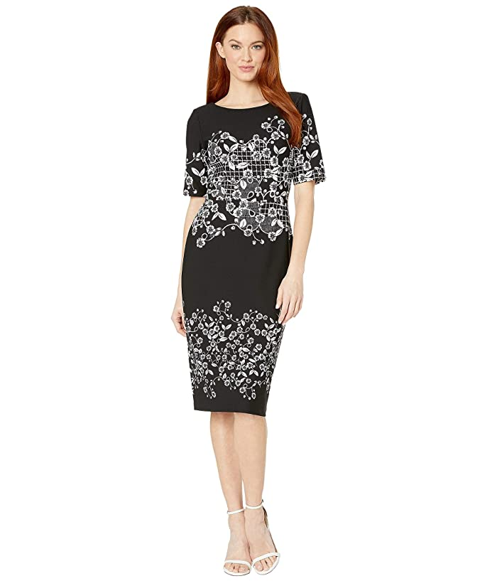 Adrianna Papell  Blooming Trellis Printed Knit Crepe Sheath Dress (Black Multi) Womens Dress