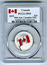 2015 Canada $25 50th Anniversary Canadian Flag .9999 Fine Silver Proof Colorized Coin $25 SP69 PCGS