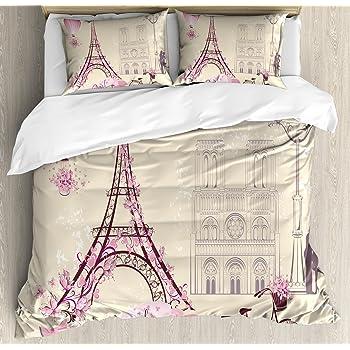 Decorative 3 Piece Bedding Set with 2 Pillow Shams Traditional Famous Parisian Elements Bonjour Croissan Coffee Eiffel Tower Print Ambesonne Paris Duvet Cover Set King Size Black White