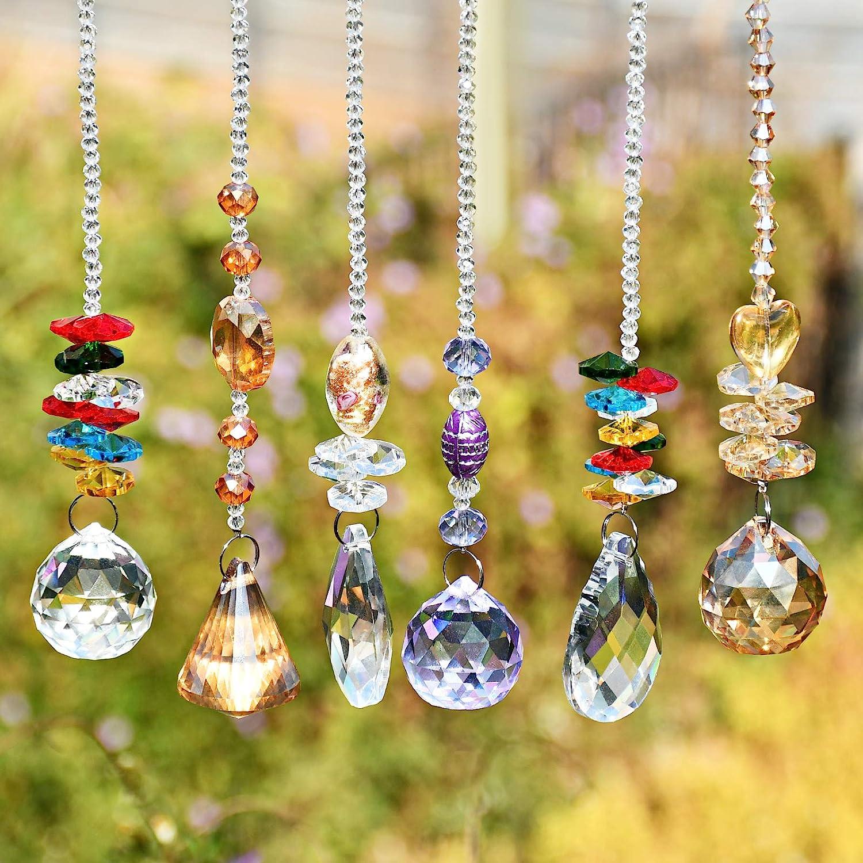 Prisma Cristal Ventana Atrapasol de Cristal Transparente Oficina Jard/ín Suncatcher Decoraci/ón para Colgar en Casa Bola de Cristal Prisma 6 Piezas Cristal Prisma Colgante