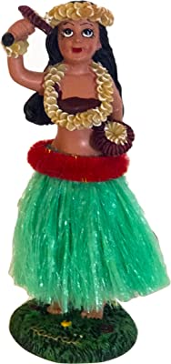 "Hawaiian Dashboard Hula Mini Doll Playing Ukulele 4/"" Natural Color Skirt Wiggles"