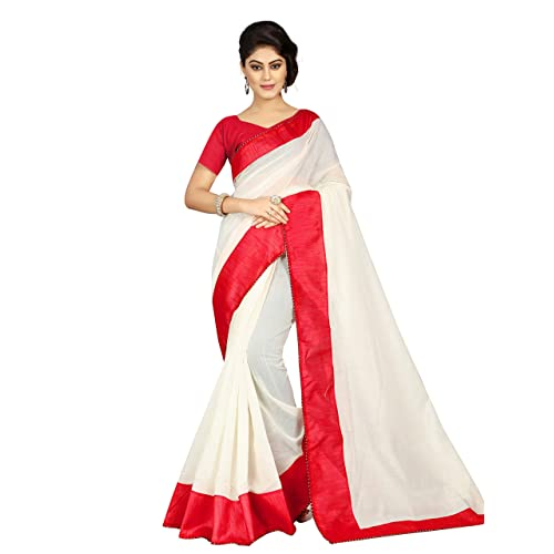 db7faf7e01 Pramukh Suppliers Women's Cotton Saree With Blouse Piece (Jyotika Red  Saree_Red)