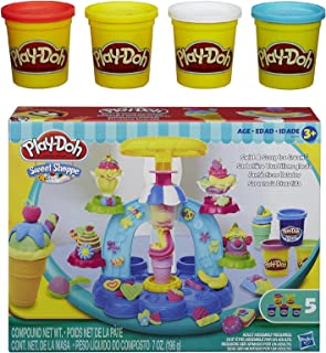 Play-Doh Sweet Shoppe Swirl and Scoop Ice Cream Playset + Play-Doh 4-Pack of Colors 20oz - Bundle
