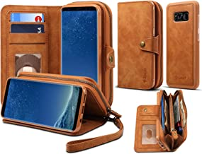Spaysi, Samsung Galaxy S8 Plus Zipper Wallet Case for Women S8 Plus Detachable Magnetic Wallet Case for Galaxy S8 Plus Card Holder Case Leather Folio Flip Holster Carrying Case for S8 Plus (Brown)