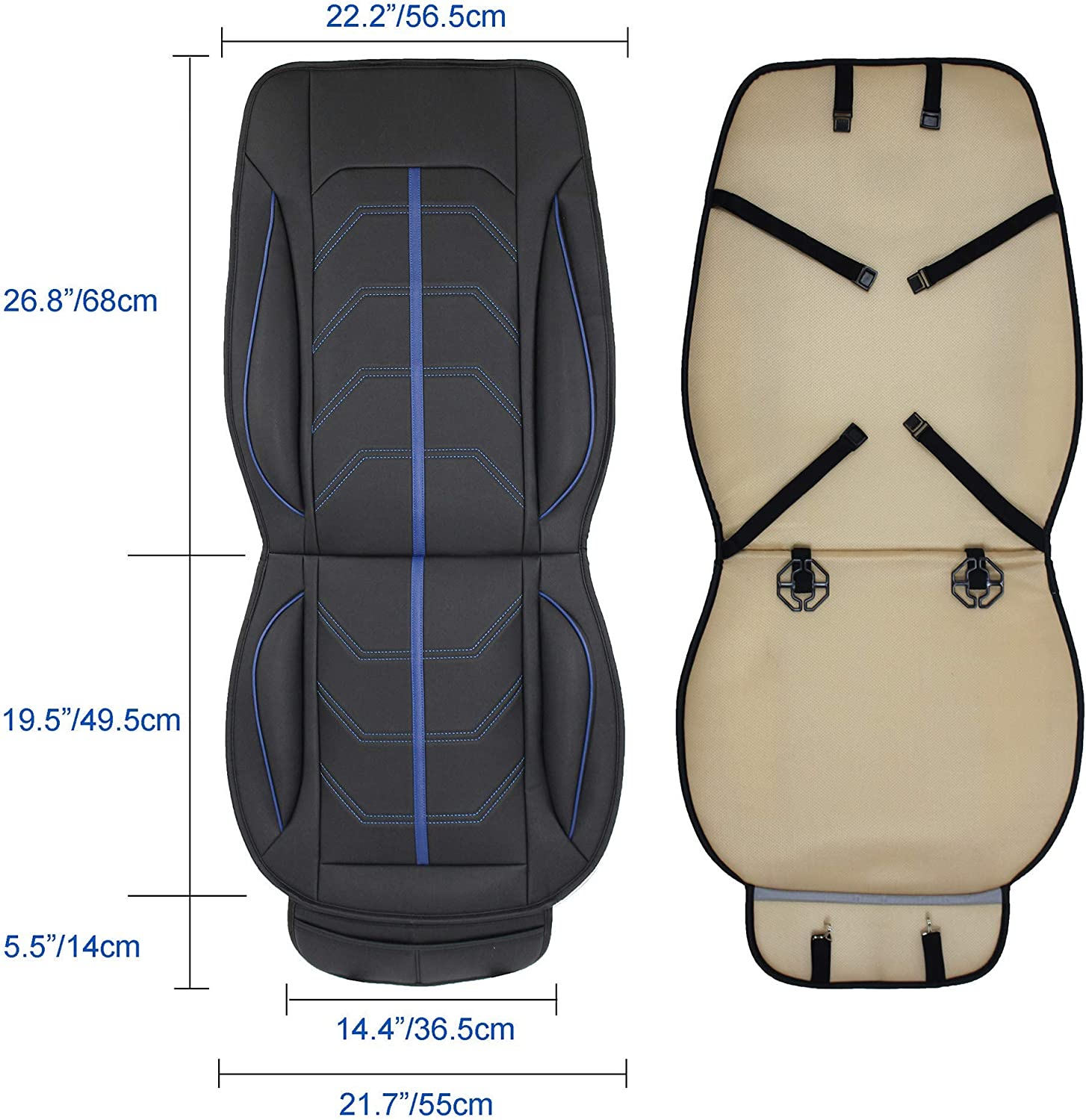 Eaglet Luxury Leatherette Sporty Universal Fit Front Car Seat Cover Easy to Install Blue on Black 1 Piece