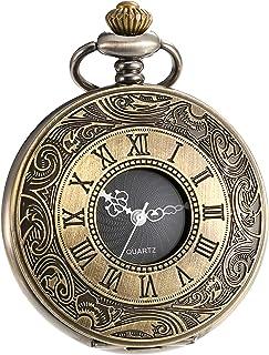 ساعة جيب من الكوارتز مع سلسلة أرقام رومانية عتيقة من Mudder
