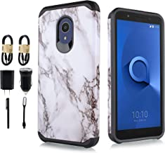 Compatible for Alcatel TCL LX (A502DL) Case, Alcatel IdealXtra Case, Alcatel 1X Evolve, Rugged Hybrid Armor Case, Shockproof Cover [Value Bundle] (Marble White)