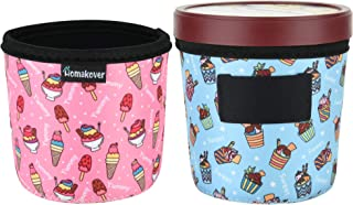 2 Pack Ice Cream and Leopard Pattern Pint Size Ice Cream Sleeves Neoprene Cover with Spoon Holder Cover (Ice Cream (2PCS))